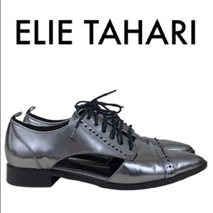 ELIE TAHARI PEWTER LACE UP SHOES SIZE 7